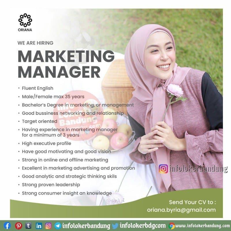 Lowongan Kerja Marketing Manager Oriana Boutique Bandung April 2021