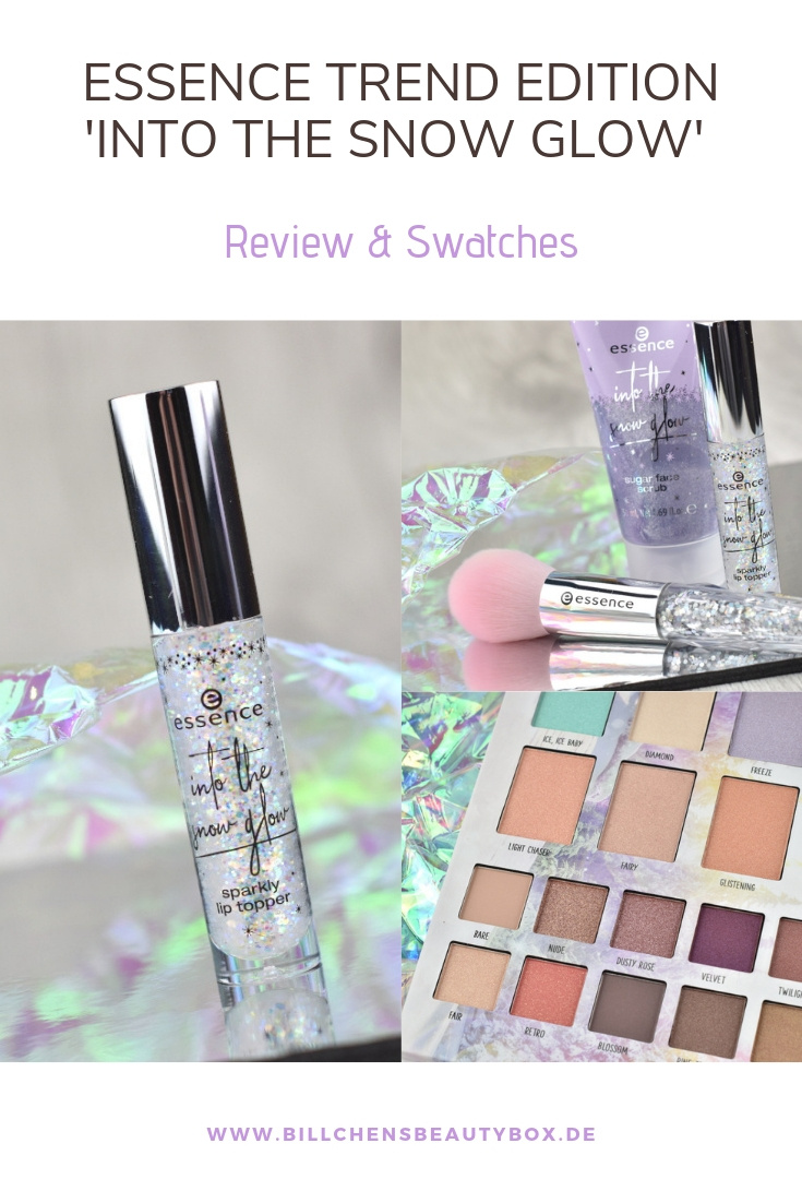 Review und Swatches essence Trend Edition 'into the snow glow' - Palette Lip Topper Pinsel Scrub
