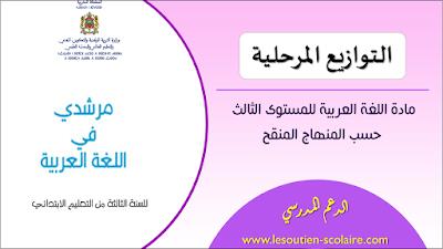 التوازيع المرحلية لجميع وحدات مرشدي في اللغة العربية المستوى الثالث