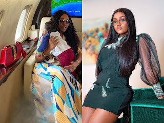 'Papa Is Well Fed, See My Baby's Belly' - Chioma Cruises With Son, Ifeanyi On Their Private Jet