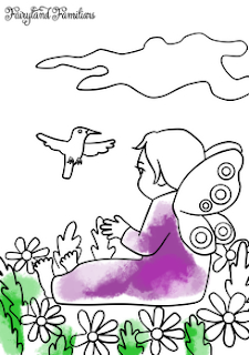 A coloring page of a fairy