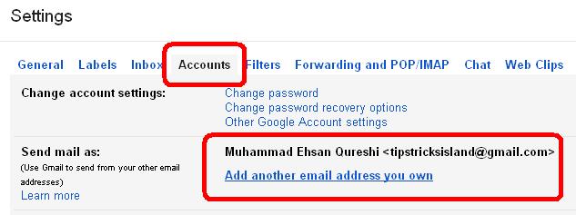 gmail setting account tab