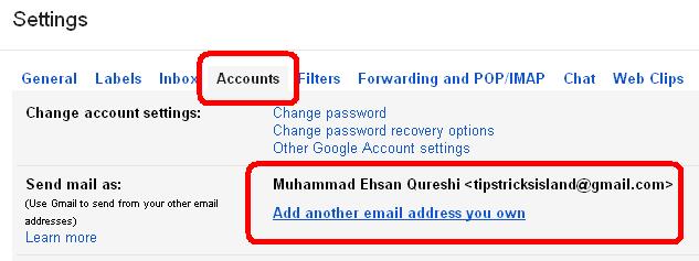 gmail setting account tab
