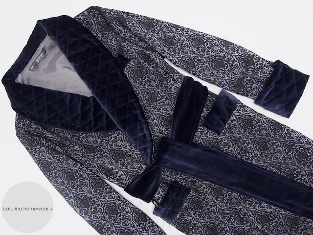 mens dressing gown dark blue paisley robe quilted silk warm soft full length english gentleman velvet lounging sleeping robes