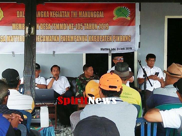 Satgas TMMD Ke-105 Kodim 1404/Pinrang Memberikan Penyuluhan Pertanian Ke Masyarakat Desa Mattiro Ade