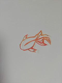 アクリル絵の具で輪郭を彩色した切り絵(白背景)