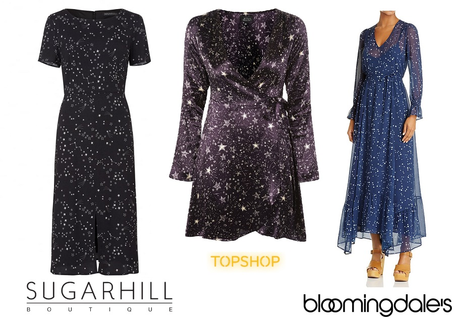 Constellation Print Dresses, Sugarhill Boutique, Topshop, Bloomingdales, Celestial Print, The Style Guide Blog
