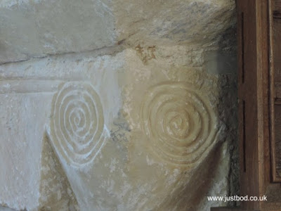 Spiral carving on the piers supporting the Chancel Arch, St Hilda's, Ellerburn