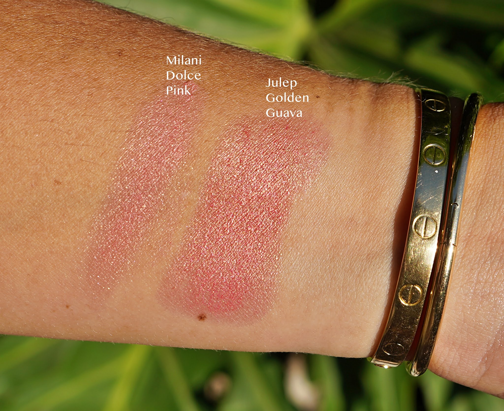 face makeup swatches in an arm