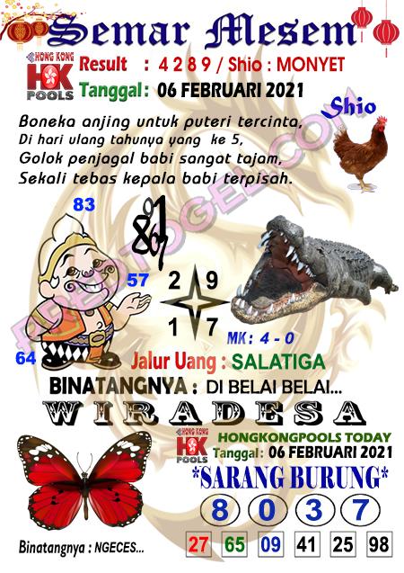 Syair HK Semar Mesem Sabtu 06 Februari 2021