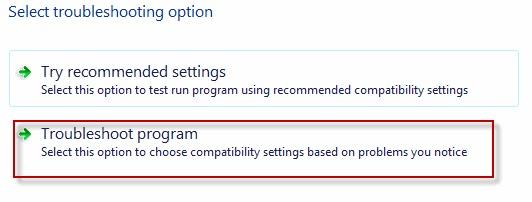 windows-التوافق-المعالج-استكشاف الأخطاء وإصلاحها الخيار