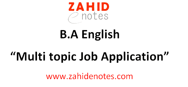 Multi Topic Job Application format and sample for BA English
