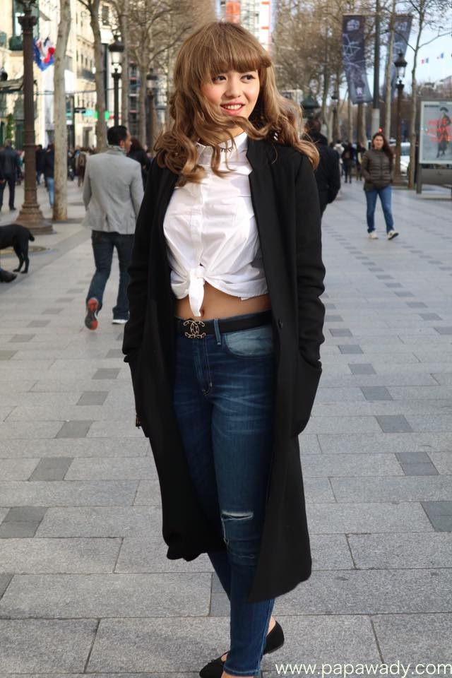 Shwe Mhone Yati Stylish Blue Jean Pants Fashion Style Walking In Europe's Streets