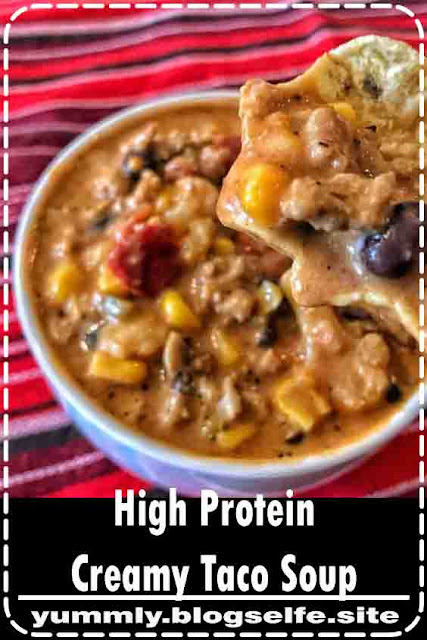 This high protein taco soup is a cool weather favorite, and it's perfect for prepping in bulk with minimal time and effort. Every serving has 18 grams of protein, only 210 calories, and tons of a super filling veggies.