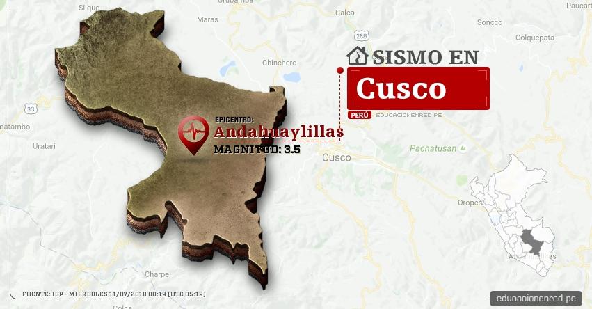 Temblor en Cusco de magnitud 3.5 (Hoy Miércoles 11 Julio 2018) Sismo EPICENTRO Andahuaylillas - Quispicanchi - IGP - www.igp.gob.pe