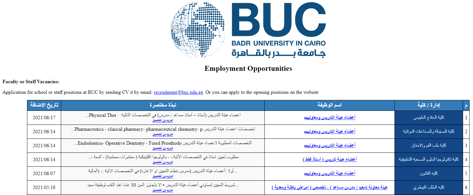 وظائف جامعة بدر معيدين و دكاترة 2021
