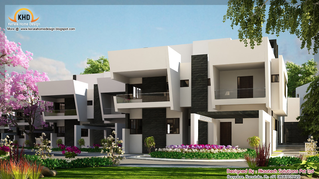 2 beautiful modern contemporary home elevations kerala for Big modern house plans