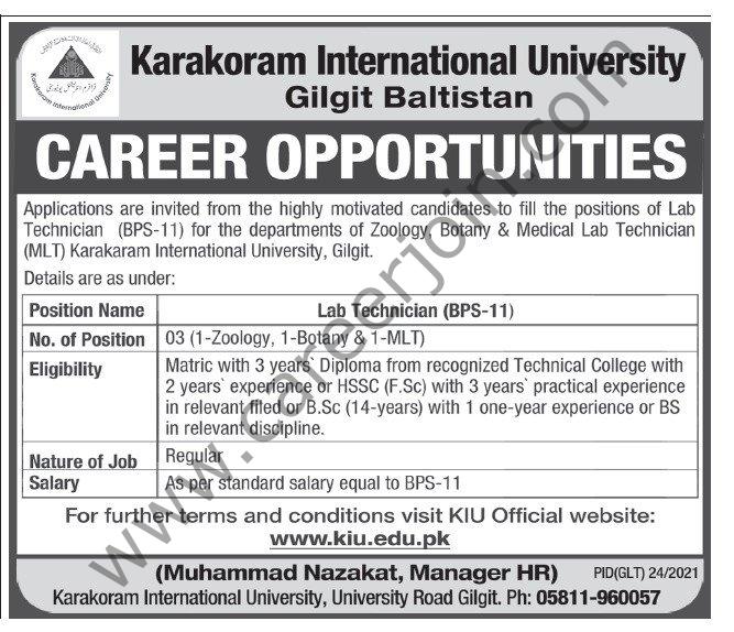 www.kiu.edu.pk Jobs 2021 - Karakoram International University Jobs 2021 in Pakistan