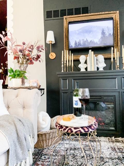 cozy fireplace set up
