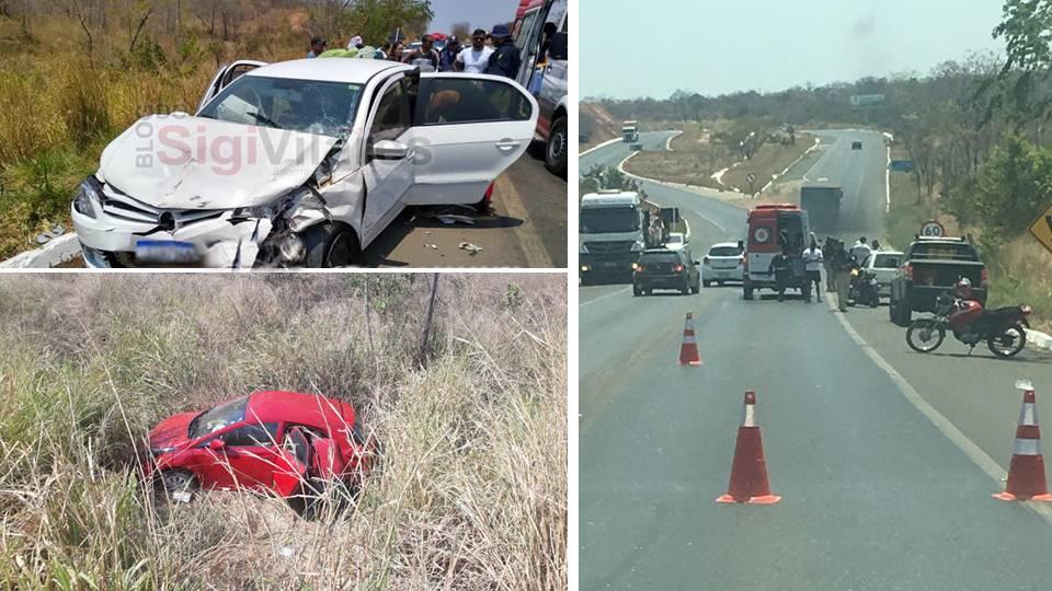 Barreiras: Uma mulher morta e 8 feridos em colisão entre três veículos na BR 242