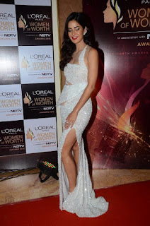 Katrina Kaif Dazzling Transparent Sparkling White Leg Split Gown with Deep neck Plunging Neckline WOW
