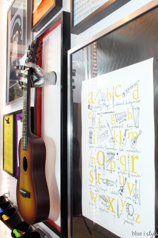Alphabet music poster in under stair playroom