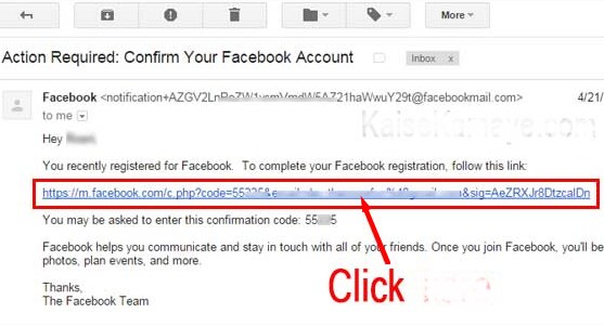 create gmail account on facebook
