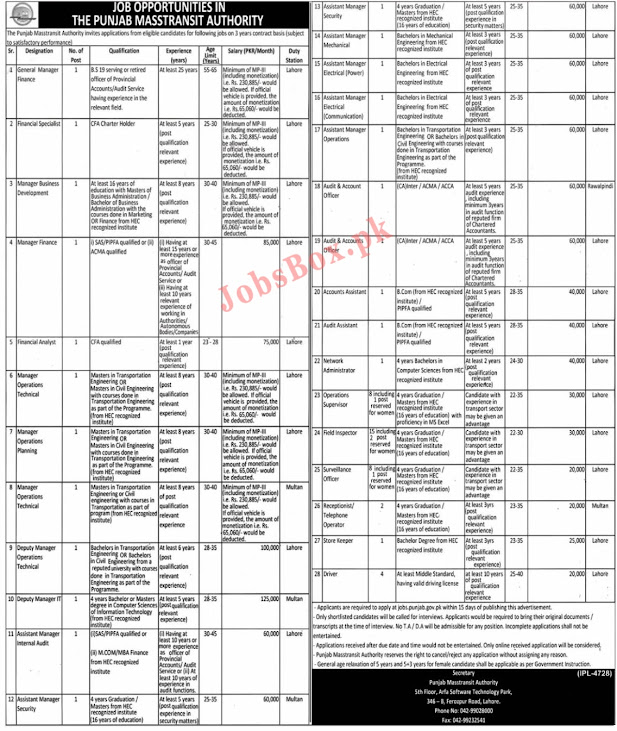 Punjab Masterset Authority latest Jobs 2021 - How To apply online for Punjab Masterset Authority Job