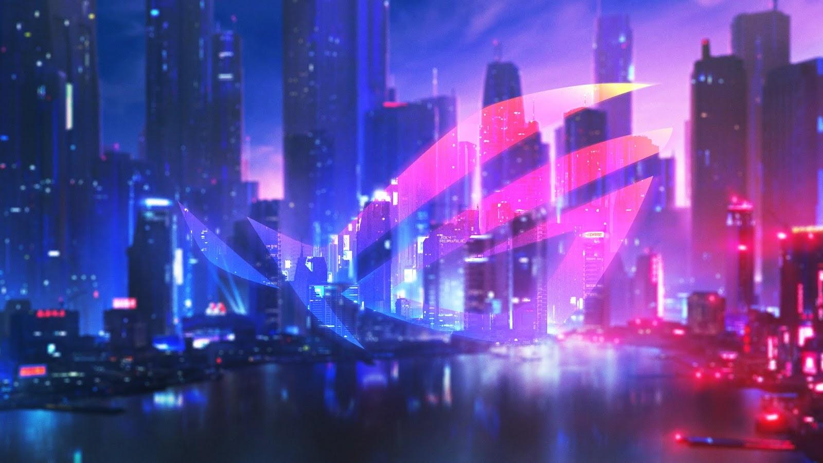 ASUS ROG, Neon, Nightfall, Skyscrapers, Urban, 4K, Technology