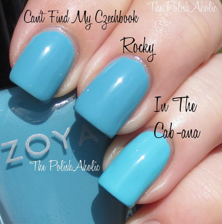 Zoya Rocky vs OPI Can 27t Find My Czechbook vs Essie In The Cab-ana    Zoya Robyn Vs Rocky
