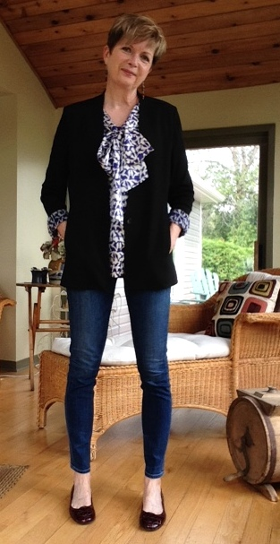 Tory Burch pussy bow blouse, Helmut Lang jacket, Citizens of Humanity jeans, Tory Burch ballet flats