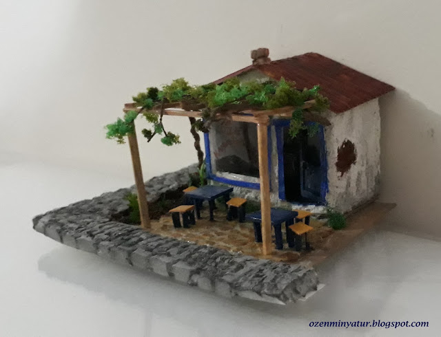 Miniature tea house and pergola