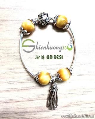 Vòng tay đá mắt hổ vàng mix bạc Thái 925