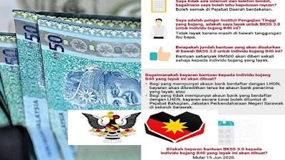 Tarikh Pembayaran Bantuan Khas Sarawakku Sayang 3.0 BKSS Bagi Bujang B40