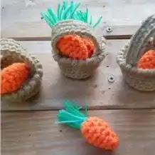 Zanahorias en Cestas a Crochet
