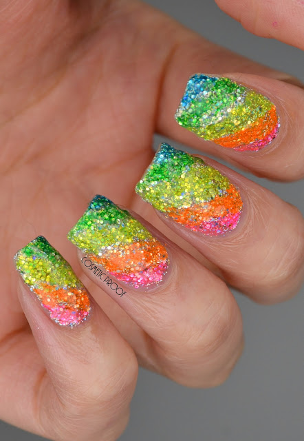 Rainbow Glitter Highlighter Nail Art