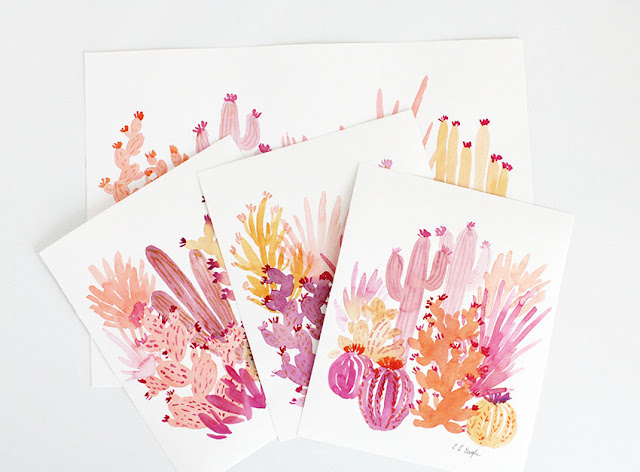 Original Watercolor Cactus Art