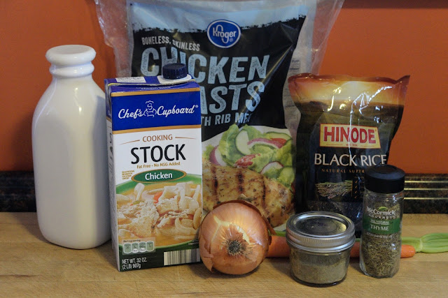 The ingredients used to make the crock pot creamy chicken and rice soup.