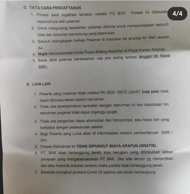 LOKER PT BUKIT ASAM KREATIF MARET 2021