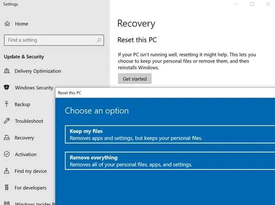 أعد تعيين Windows 10 لحل الخطأ 0x800f0988