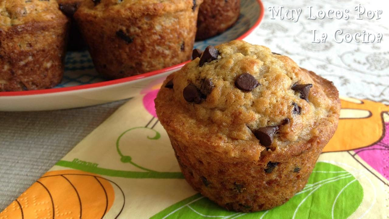Muffins de Plátano y Pepitas de Chocolate