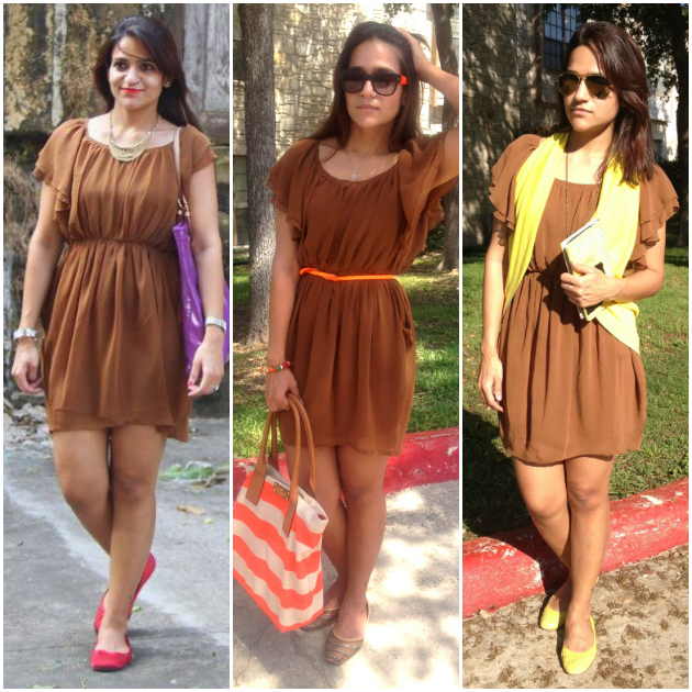Three Ways To Style Brown Dress, Tanvii.com