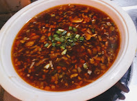 Hot and sour soup serving