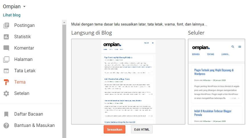 Menu Desainer Tema di Blogger
