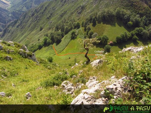 Bajando a la Collada Llimes y vista del camino que baja por el Valle de Tobao