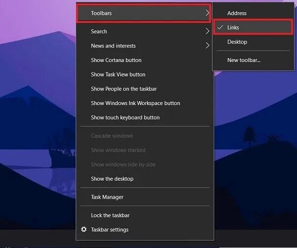 روابط أيقونات شريط مهام Windows 10