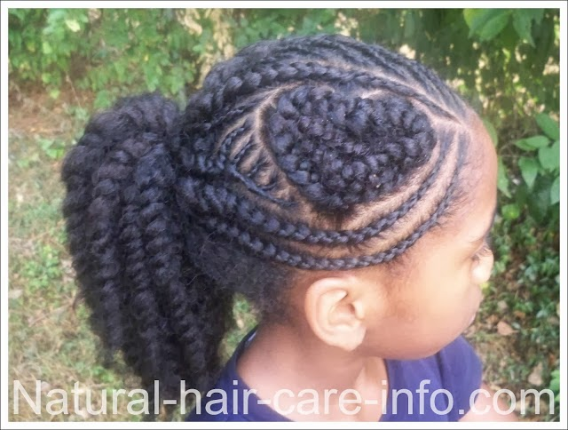 cornrow shaped heart hair