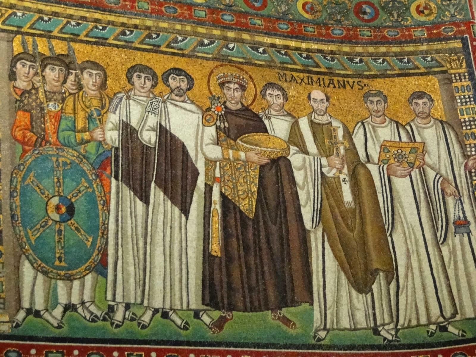 Mosaico do Imperador Justiniano na Basílica de San Vitale,Ravenna.
