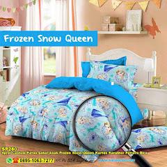 Sprei Custom Katun Lokal Anak Frozen Snow Queen Kartun Karakter Pattern Biru