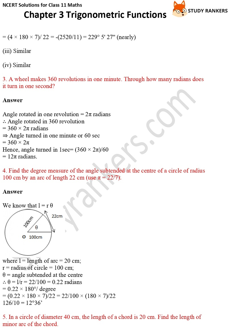 NCERT Solutions for Class 11 Maths Chapter 3 Trigonometric Functions 2